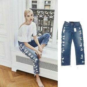 NEW 3x1 W3 Higher Ground Boyfriend High Rise Crop Distressed Dosa Jeans • 26